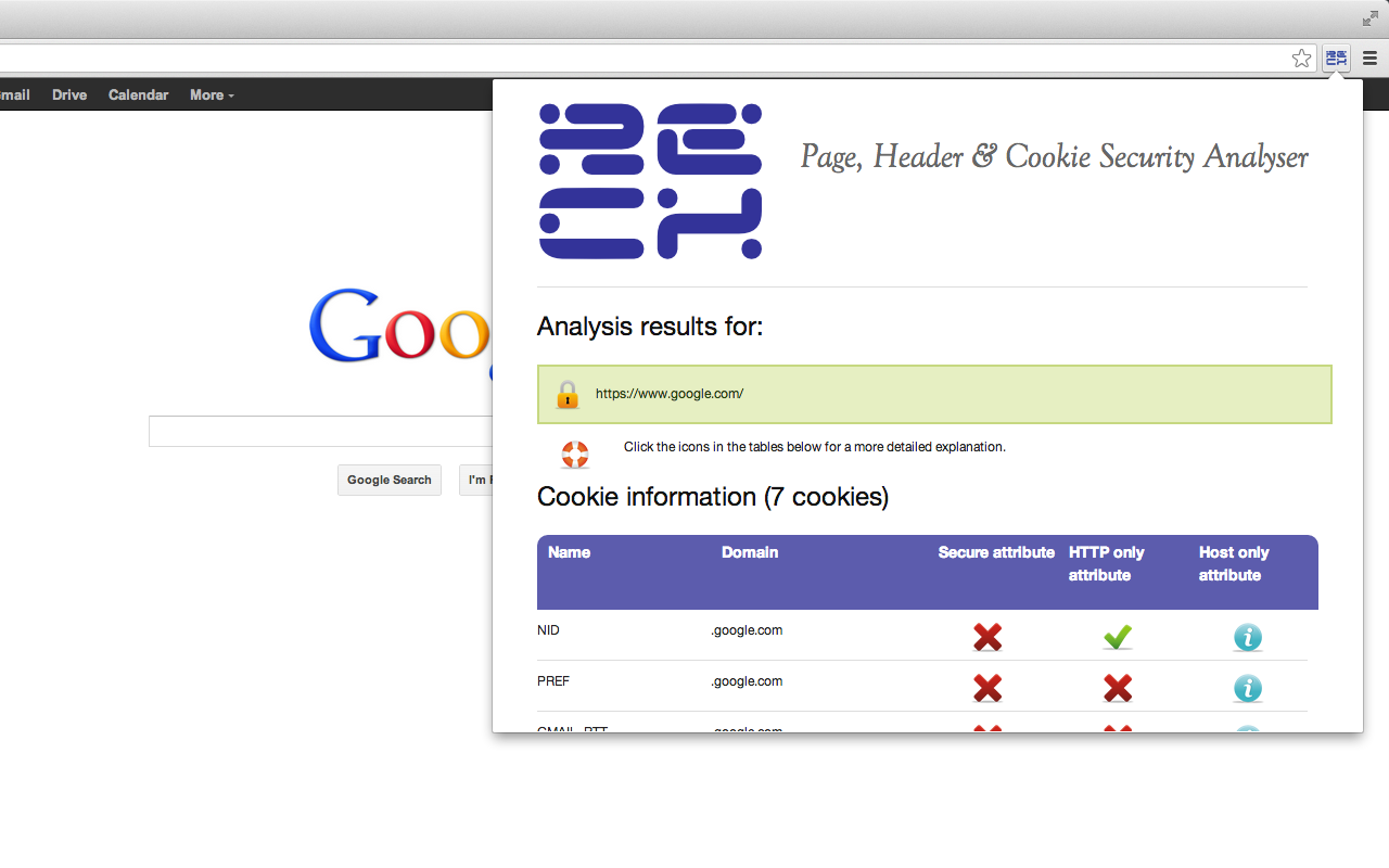 HTTP Header and Cookie Security Analyser Screenshot
